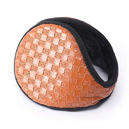 YLL Calentamiento del oído Orejeras Orejeras del Invierno Bolsa de la PU Mujer del oído Tapa Macho Grueso del oído de los Hombres de los Casquillos Plegable (Color : Naranja)
