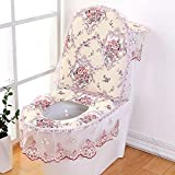 WHHBM0 Set de asiento de inodoro de tres piezas Aseo de estilo europeo inodoro universal cubierta de inodoro invierno hogar impermeable asiento asiento conjunto europeo tres piezas-púrpura