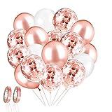 60 Piezas Globos de Látex de 12 Pulgadas Globo de Confeti ,cumpleaños, baby shower, graduación, decoraciones de fiesta de ceremonia (Oro rosa)