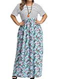 Allegrace Women's Plus Size Floral Print Striped Patchwork Maxi Dress Short Sleeve Long Dresses P47 Light Banana Leaf SkyBlue 2X