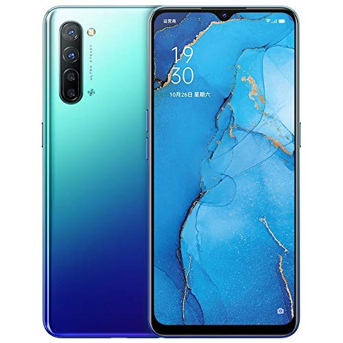 "Original Oppo Reno 3 5G Mobile Phone 12G+128GB 6.4"" AMOLED Android 10 Mediatek 1000L 64.0MP 5 Cameras VOOC 4.0 Screen Fingerprint OTG NFC Support Google by-(Real Star Technology) (Blue 12+128G)"