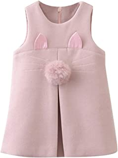 Kids Outfits Toddler Baby Girls Sleeveless Cute Cat Ear Furry Bunny Tail Vest Dress Autumn Winter Clothes