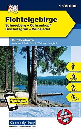 Deutschland Outdoorkarte 36 Fichtelgebirge 1 : 35.000: Schneeberg, Ochsenkopf, Bischofsgrün, Wunsiedel. Wanderwege, Radwanderwege, Nordic Walking, Skilanglauf (Kümmerly+Frey Outdoorkarten Deutschland)