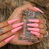 Cagora Coffin Long Fake Nails Matte Ballerina Press on Nail Extra Long Full Cover Acrylic Nails Artificial Nails Tips for Women and Girls (Pink)