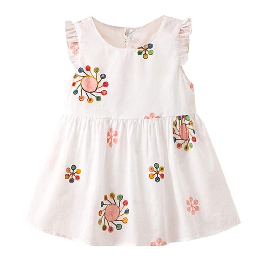Kingspinner Girl Dress Summer Sleeveless Floral Sundress Princess Dress 1-5 Years
