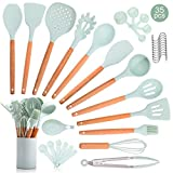 35PCS Wooden Silicone Kitchen Cooking Utensils Set with Holder for Countertop Turner Tongs Spatula Spoon Kitchen Gadgets Utensil Sets for Nonstick Cookware Kit Drying BPA Free Non Toxic Mint Green