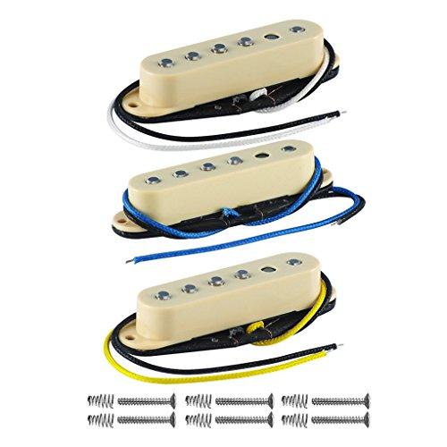 FLEOR Set Hals- / Mittel- / Brücken-Tonabnehmer Faserplatte Versetztes Polstück Alnico 5 Single Coil-Gitarren-Tonabnehmer für E-Gitarre Stratocaster Style, Creme