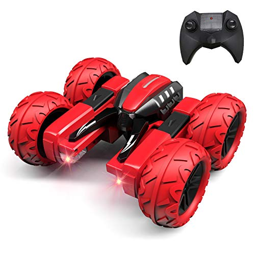 Threeking RC Cars Stunt car Remote Control Car Double Sided Swing Arm 360° Flips Rotating 4WD Outdoor Indoor Dance Car Toy Present Gift for Boys/Girls Ages 6+ ,2 Pcs Rechargeable Batteries