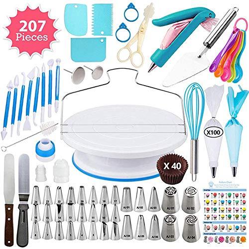 winnerruby 207PCS - Kit de accesorios para decoración de pasteles de acero inoxidable para hornear con puntas rusas con sacos de hornear herramientas para principiantes