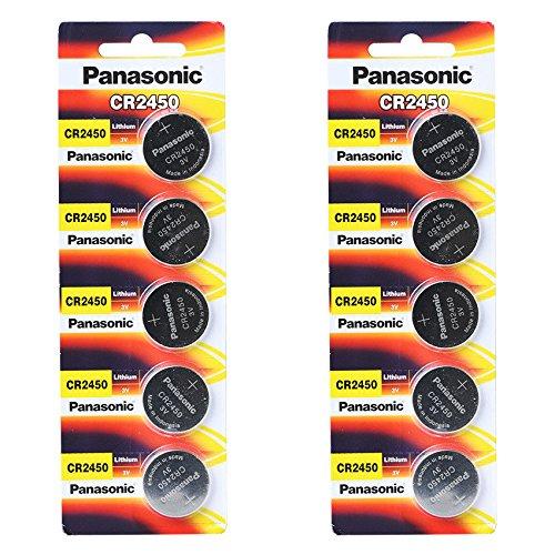 3-Volt-Lithium-KnopfzelleCR2450von Panasonic –10Batterien