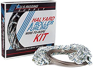U.S. Rigging Supply Stainless Steel Wire-to-Rope Hand-Spliced Halyard Rope Kit - for Yachts, Sailboats, Flag Poles - Several Sizes, Lengths & Tracer Colors