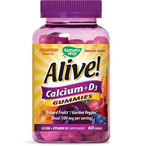 Nature's Way Alive! Premium Calcium + D3 Gummy + Orchard Fruits/Garden Veggies, 60 Gummies