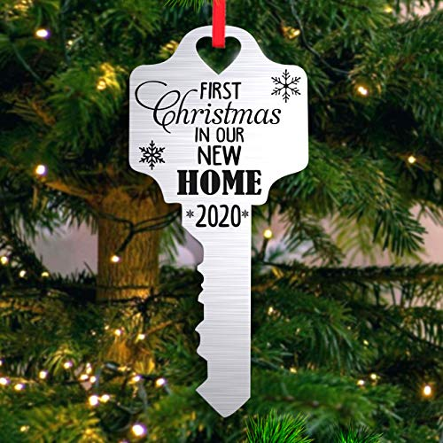 Christmas Ornament Our First Home Key House - New Homeowner, Real Estate Gift, Metal Ornament Acrylic Handmade Gift Christmas Tree 2020 Wood Christmas Housewarming Holiday Decoration (Silver)