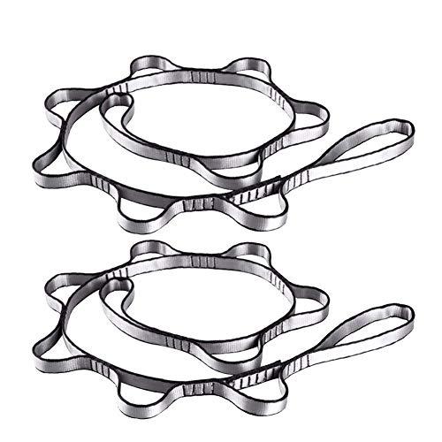 GDRAVEN 2 Starker Daisy Chain, Gurt verstellbar Gurt Seil für Yoga, Jagd Camping Outdoor Sport Starker Klettern, Rot/Grau (Grau)