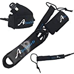 """Abahub Premium Surfboard Leash, Straight Surf Board Leg Rope, SUP Legrope Strap for Shortboard, Longboard, Paddleboard… 11 Full Range: Size options: 6ft, 7ft, 8ft, 9ft, and 10ft; 10 Color options: Black, Blue, Green, Clear Red, Clear Blue, Orange, Purple. It's recommended to choose a leash equal in length to or slightly longer than the board it will be used on. Strong & Safe: This leash is made of super strong 7 mm thick polyurethane cord, with molded-in double Stainless Steel swivels. The double wrap-around velcro cuff is to add extra strength and security to your connection. Comfortable & Easy: High-density neoprene padded 2"""" Ankle Cuff has an easy pull tab with a hidden key pocket."""