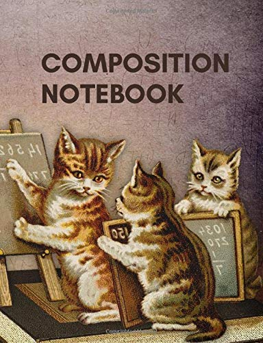 Composition Notebook College Ruled: 7.44 x 9.69 Inch 120 Pages Cat Back to School Composition Book for Teachers, Students, Kids, and Teens Paperback