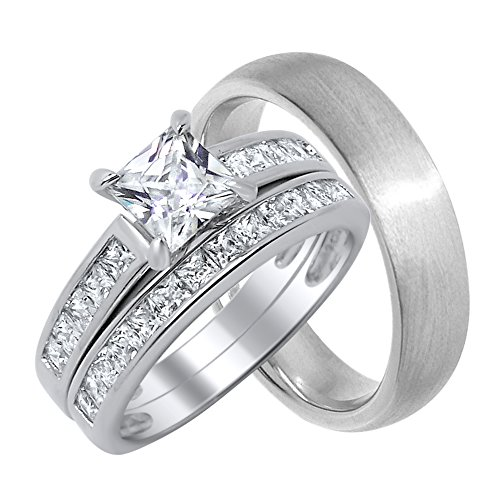 His and Her Wedding Ring Sets Matching Bands for Him Size 12 and Her Size 11