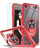 iPod Touch 7 Case, iPod Touch 6 Case, iPod Touch 5 Case with Tempered Glass Screen Protector [2Pack],LeYi Military-Grade Clear Crystal Case with Kickstand for Apple iPod Touch 7th/ 6th/ 5th Gen, Red