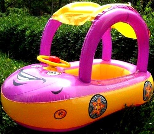 Lila Gelb, Sonnenschutz Baby-Schwimmen Boot / schwimmen Sitz mit Lenkrad, New