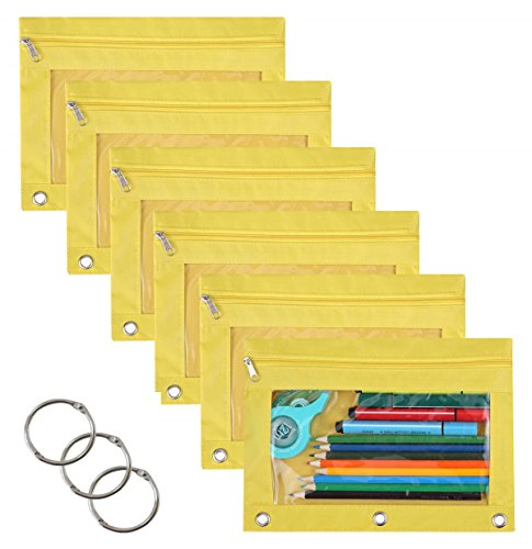 WODISON 3-Ring Pen Pencil Pouch with Clear Window Stationery Bag Binder Case Classroom Organizers 6-Pack (Yellow)