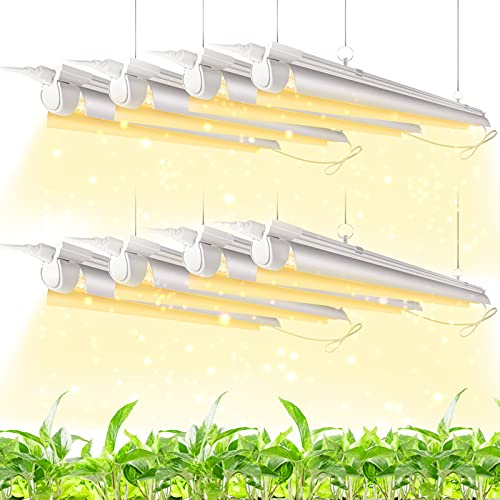 Kihung Full Spectrum LED Grow Light, T8 4FT 336W (8×42W, 1600W Equivalent), Sunlight Replacement, Plant Grow Light Fixture with High PPFD for Indoor Plant, 8-Pack