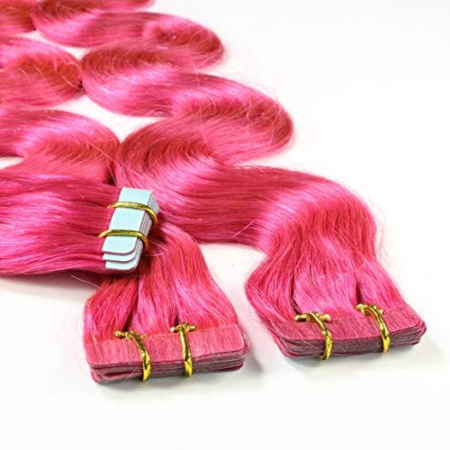 hair2heart 30 x 2.5g Tape In Echthaar Extensions, 60cm - gewellt - #pink