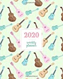2020 Weekly Planner: Ukulele Pink Mint Green Pattern, Weekly and Monthly Standard Professional Calendar | 1 January 2020 - 31 December 2020