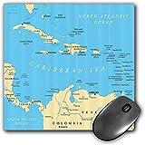 Mouse Pad Gaming Funcional Conjunto de la pasión por los viajes Alfombrilla de ratón gruesa impermeable para escritorio Mapa político del Caribe Capitales Fronteras nacionales Ciudades importantes río