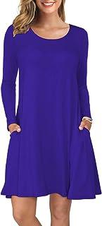 Women's Long Sleeve Tops T-Shirt Dress Round Neck Casual...