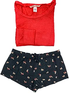 Victoria's Secret Women's Pajama Set Flannel Shorts with Lounge Top