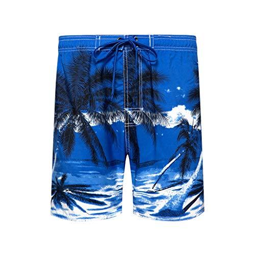 HDUFGJ Badeshorts für Herren Jungen Sommer Badehose Schwimmhose Schnelltrocknend Kurz Hawaii Beachshorts mit Mesh-Futter und Verstellbarem Tunnelzug Elastische Gürtel Tunnelzug M(Blau)