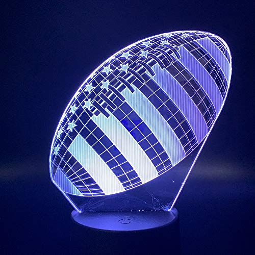 wangZJ 3D Lampe Rugby Fußball Sport Ball Spiele Schlafzimmer Dekoration 7 Farben mit Bester Weihnachtsgeschenk/Lava Effekt 16 Farbe