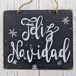 Feliz Navidad Rustic Merry Christmas Decor Farmhouse Holiday Signs Whole Sale Christmas Snowflakes Chalkboard Art Wood Signs for Home Decor Quote Garden Plaque Sign