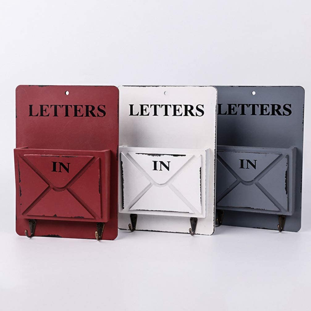 VORCOOL Cassetta delle Lettere in Legno Cremagliera delle Lettere Smistatore di Posta a Parete Organizzatore di Immagazzinaggio Ganci Chiave Titolare Corridoio Porta Cesto Appeso