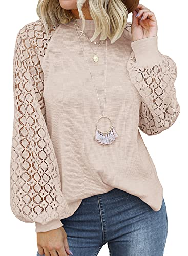 MIHOLL Women's Long Sleeve Tops Lace Casual Loose Blouses T Shirts (Oatmeal, Large)