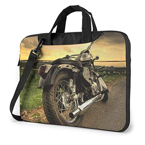 Motorcycle in The Sundown Laptop Sleeve Case 15.6 Inch Computer Tote Bag Shoulder Messenger Briefcase for Business Travel