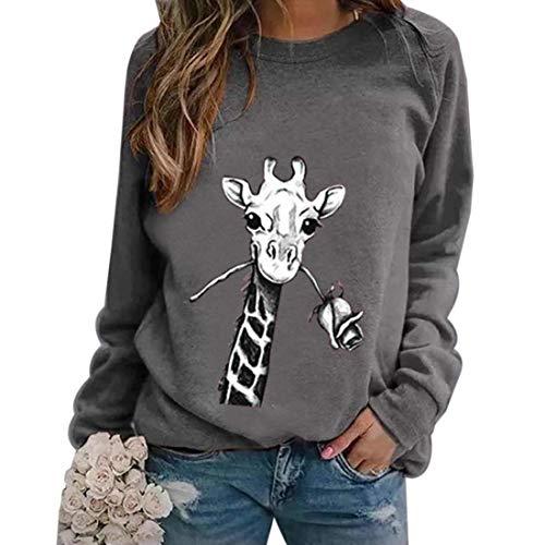Manooby Damen Autumn Loose Casual Pullover Sweatshirt Rundhalsausschnitt Langarm Blusenshirt Tops