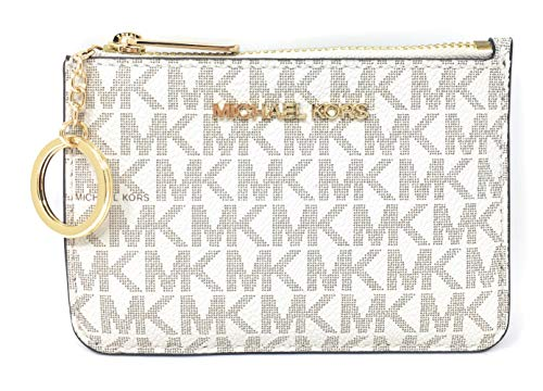 Michael Kors Jet Set Travel Small Top Zip Coin Pouch with ID Holder - PVC Coated Twill (Vanilla)
