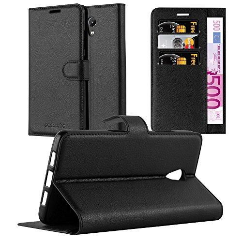 Cadorabo Hülle für Lenovo P2 in Phantom SCHWARZ - Handyhülle mit Magnetverschluss, Standfunktion und Kartenfach - Case Cover Schutzhülle Etui Tasche Book Klapp Style