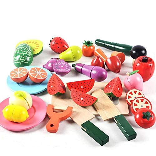 HSCW Cocina Pretender juguete Frutas y verduras Juguete magnético Alimento de madera Cortar Niños Pretender juego Juguetes Juguetes de aprendizaje temprano interactivo Regalos de cumpleaños para niños