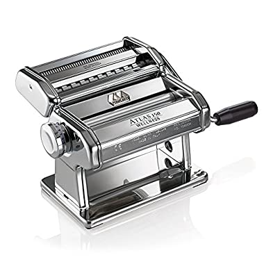 Marcato Atlas Pasta Machine, Made in Italy, Chrome, Includes Pasta Cutter, Hand Crank, and Instructions
