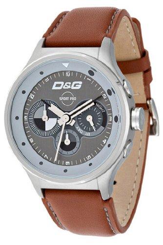 D&G Dolce&Gabbana DW0210 - Reloj cronógrafo de caballero de cuarzo con correa de piel marrón (cronómetro) - sumergible a 50 metros