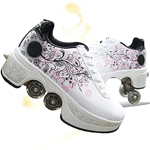 JZIYH Ajustable Rueda Roller Automática De Skate Zapatillas con Ruedas Zapatos Patines Deportes De Exterior Patines En Línea Aire Libre para Niños Niña