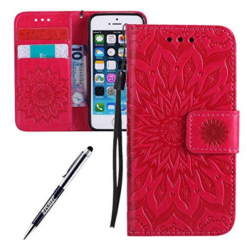JAWSEU Custodia Cover iPhone 5/5S/SE Pelle Portafoglio, Libro PU Leather Wallet [Shock-Absorption] Goffratura Arts Fiore Modello Supporto di Stand Magnetica Protettiva Custodia