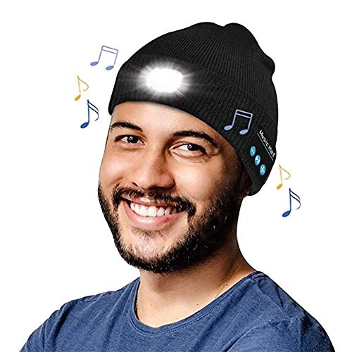 Bluetooth Beanie Hat, Sombrero Auricular Bluetooth con Linterna LED Musical de Punto Hat Invierno con Altavoz Estéreo, Micrófono para Hombres, Mujeres, Familiares y Amigos