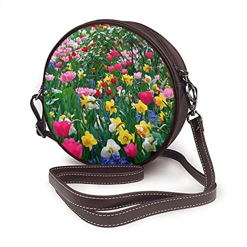Bolso bandolera para mujer, bolso lateral para vacaciones, viajes, verano, moda, círculo, tulipanes, narcisos, flores, prado, belleza