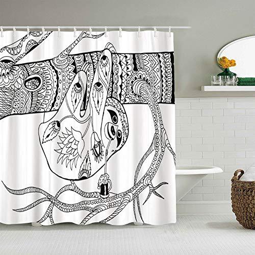 OPQRSTQ-O Cortina de Ducha Impermeable,Pereza en los Patrones de Rama para Colorear Dibujo a Mano alzada Dibujo Adulto,Cortinas de baño de poliéster de diseño 3D con 12 Ganchos,tamaño 180 x 210cm
