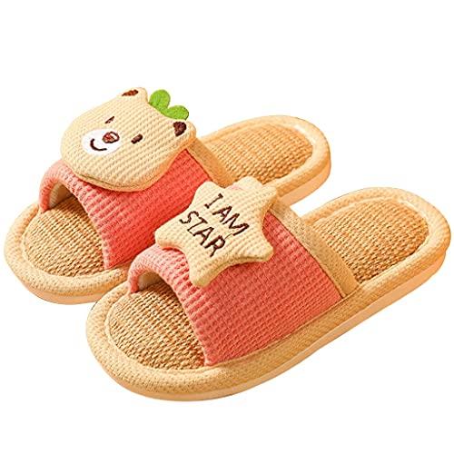 HSHOR Zapatillas de jardín para niños, de algodón, cómodas, para interiores, color rosa, talla 27 – 28 EU)