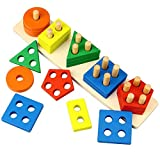 Dreampark モンテッソーリ木製積み木 教育おもちゃ 知育玩具 想像力の培い 指先訓練 はめこみ 形合わせ カラフル 脳活性化 6歳以上 幾何認知 女の子 男の子 出産祝い 入園お祝い 誕生日プレゼント