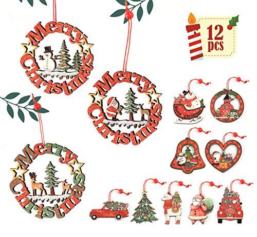 ABSOFINE Decorazioni Natalizie in Legno Albero di Natale Appeso Ornamento Fai da Te Colorato Artigianale in Legno Decorazione Appesa Addobbi, 12 Pezzi